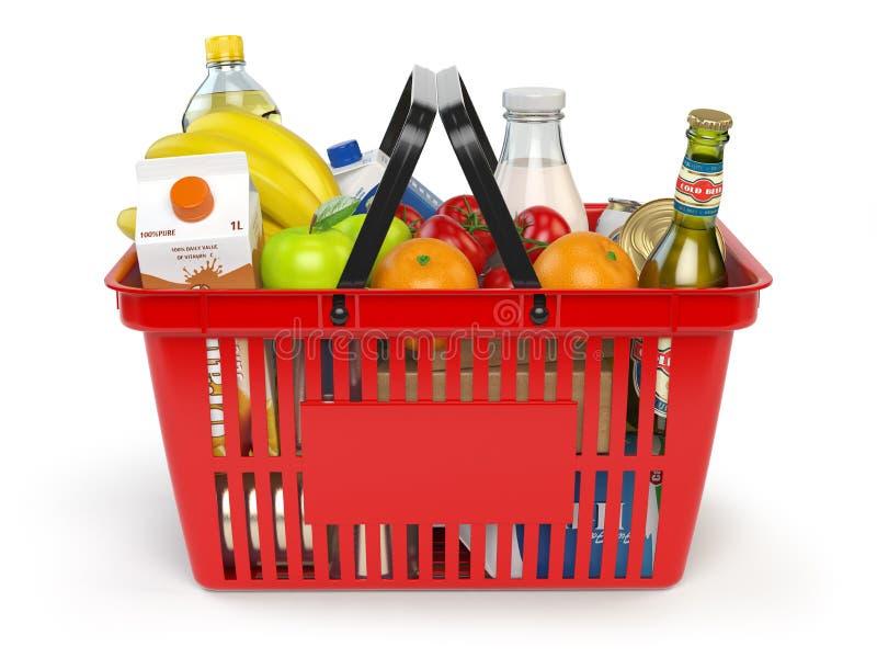 Shoppingkorg med variation av livsmedelsbutikprodukter som isoleras på whi stock illustrationer