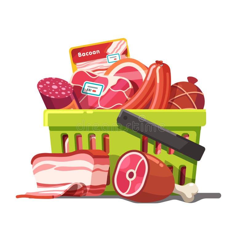 Shoppingkorg mycket av kött Rått och förberett stock illustrationer