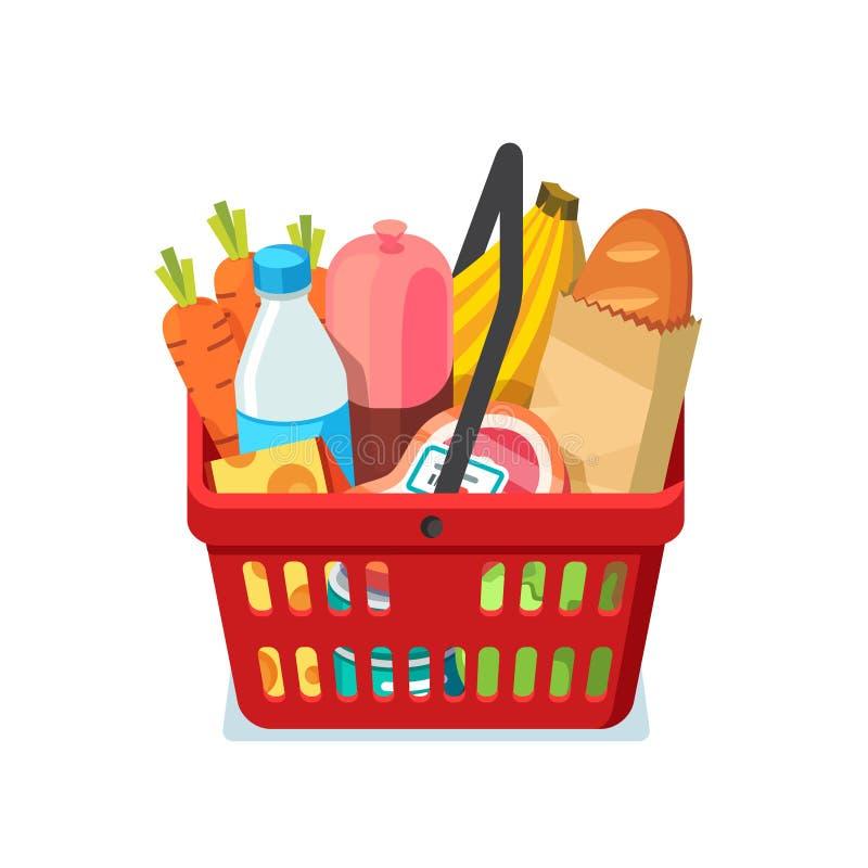 Shoppingkorg mycket av livsmedel vektor illustrationer