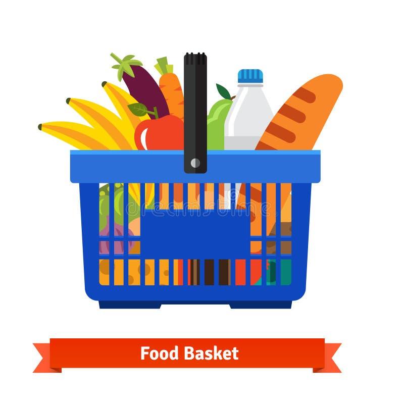 Shoppingkorg mycket av sund organisk ny mat vektor illustrationer