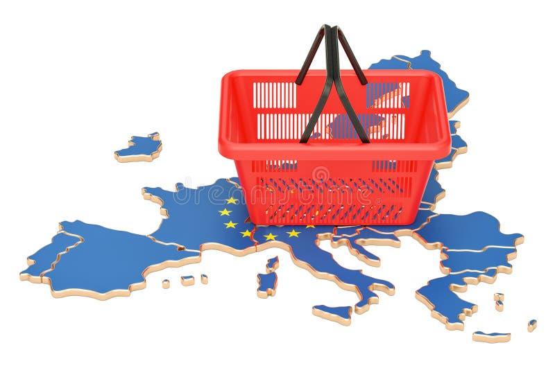 Shoppingkorg på översikt för europeisk union, marknadskorg eller purchasi royaltyfri illustrationer