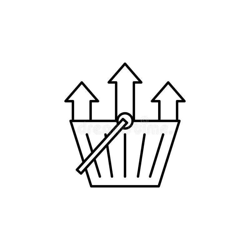 Shoppingkorg, pilsymbol Beståndsdel av linjen symbol för konsumentuppförande vektor illustrationer