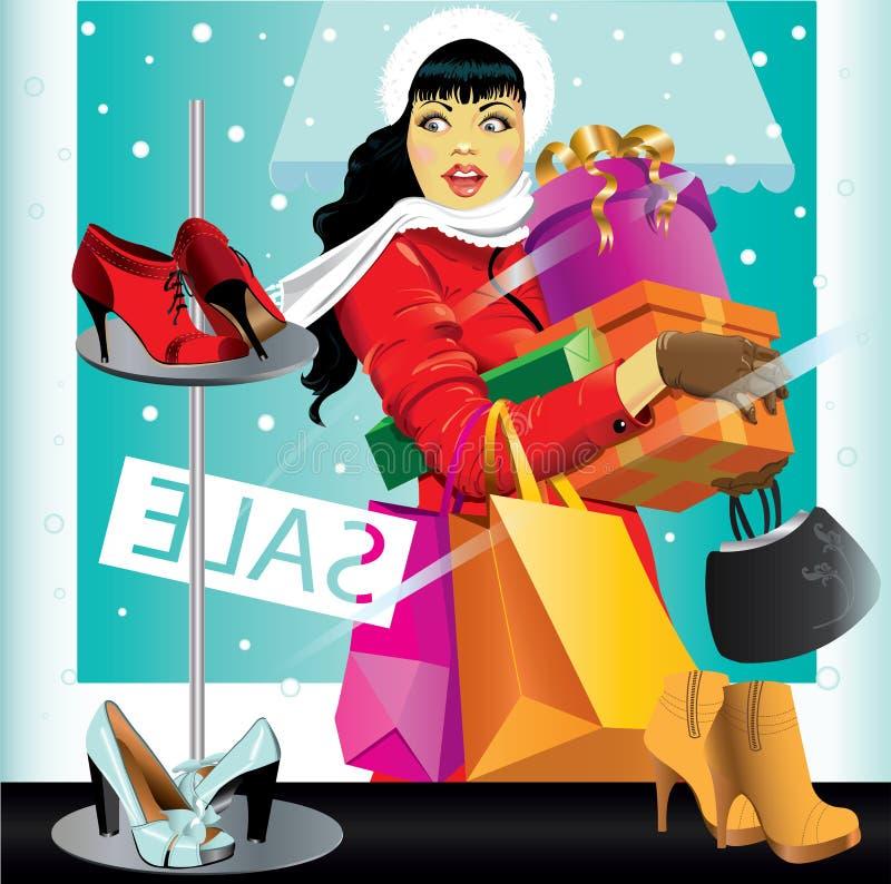 shoppingkvinna vektor illustrationer