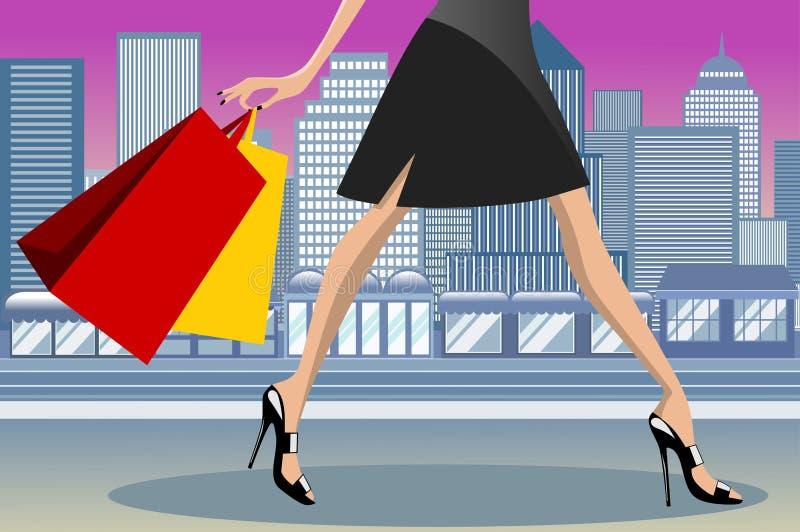 Shoppingkvinna som i city går staden vektor illustrationer