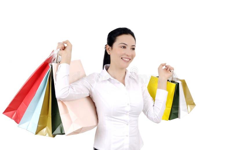 shoppingkvinnabarn royaltyfria bilder