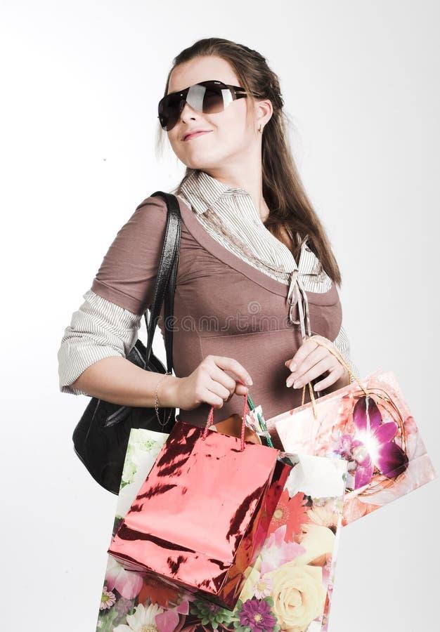 shoppingkvinnabarn arkivfoton