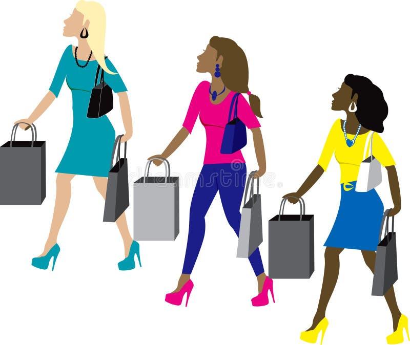 shoppingkvinnor royaltyfri illustrationer