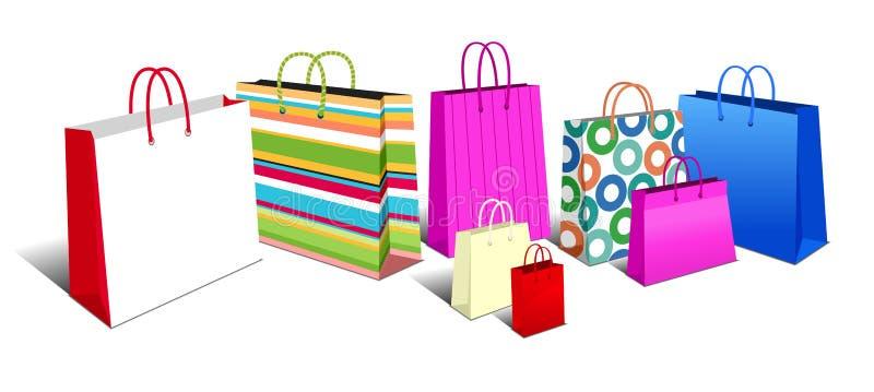 Shoppingpåsar, bärkassesymbolssymboler vektor illustrationer