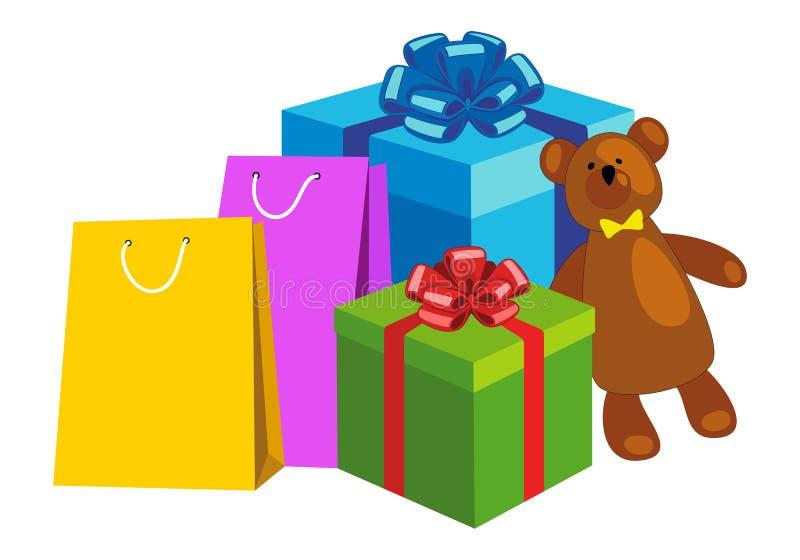 Shoppingpåsar, gåvaaskar och nallebjörn stock illustrationer
