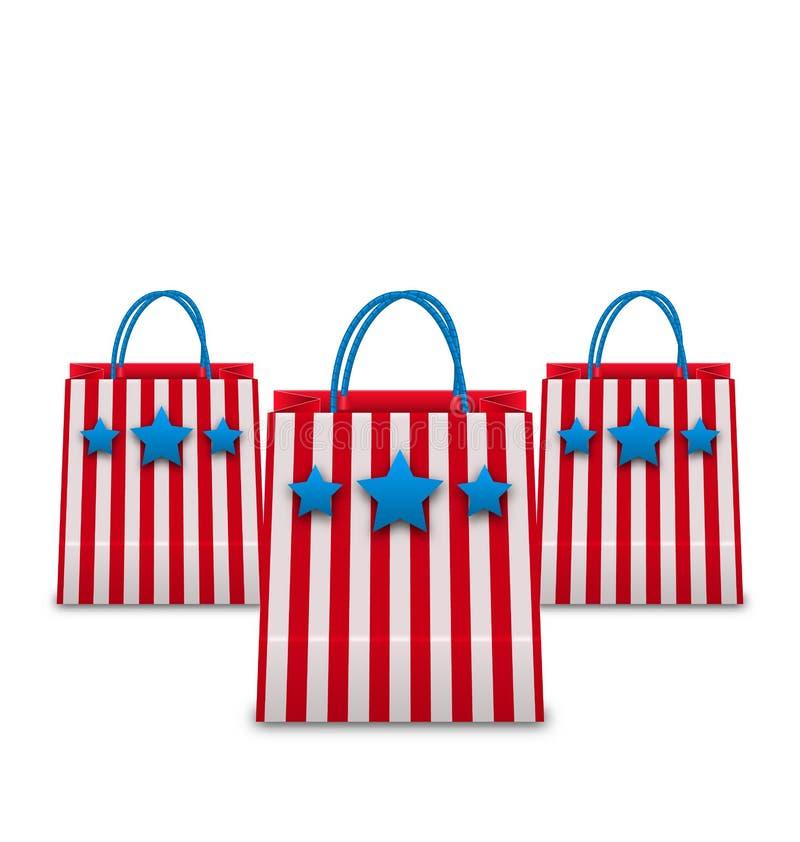 Shoppingpåsar i amerikanska patriotiska färger Paket som isoleras på vit bakgrund royaltyfri illustrationer
