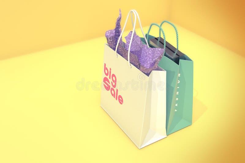 Shoppingpåsar i gul bakgrund arkivbilder