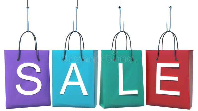 Shoppingpåsar på kroken locka köpare royaltyfri illustrationer