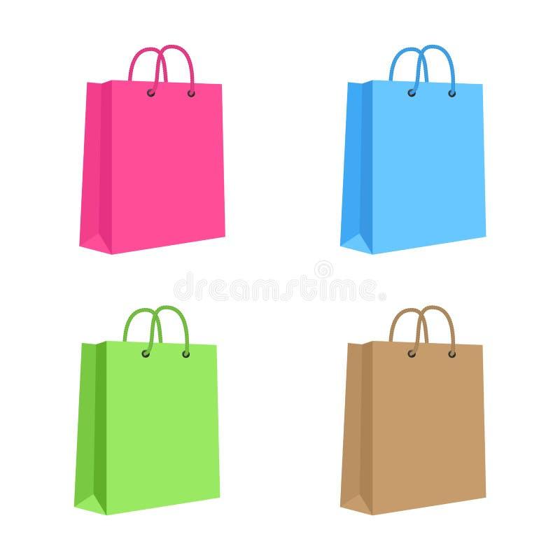 Shoppingpåse för tomt papper med rephandtag. Uppsättning vektor illustrationer
