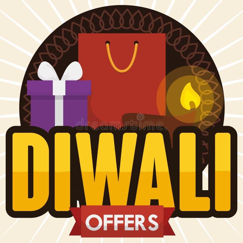 Shoppingpåse, gåvaask och Diya för Diwali erbjudanden, vektorillustration stock illustrationer