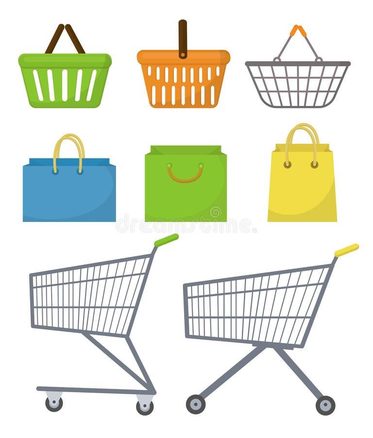 Shoppingpåse, korg, spårvagn, vagn Symbolsuppsättning, lägenhetstil Köpsupermarket bakgrund isolerad white vektor stock illustrationer