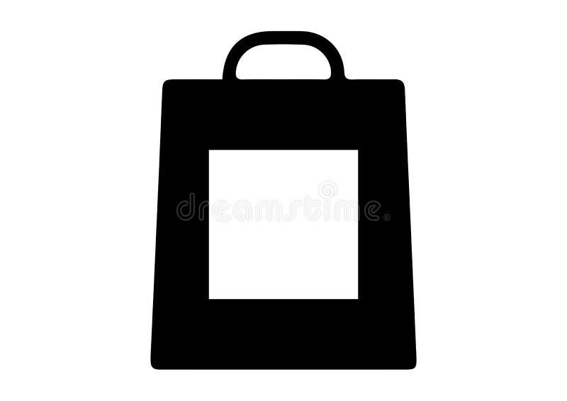 Shoppingpåse med fyrkantiga symboler royaltyfri illustrationer