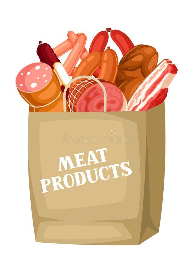 Shoppingpåse med köttprodukter Illustration av korvar, bacon och skinka royaltyfri illustrationer