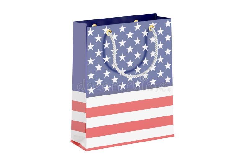 Shoppingpåse med USA flaggan, tolkning 3D vektor illustrationer