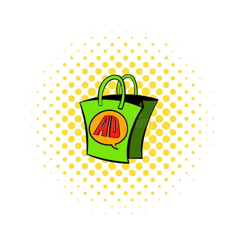 Shoppingpåsen med ANNONSEN märker symbolen, komiker utformar vektor illustrationer
