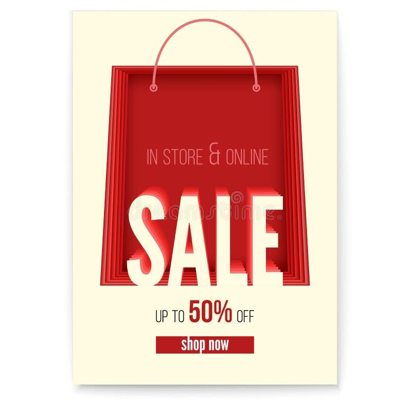 Shoppingpåsen på affischen med försäljningar åtgärdar i lager och får direktanslutet upp till femtio procent rabatt Papperssnitts stock illustrationer
