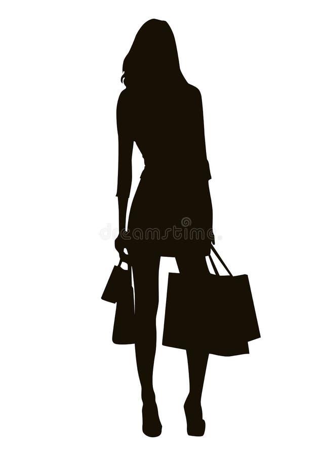 shoppingsilhouette stock illustrationer