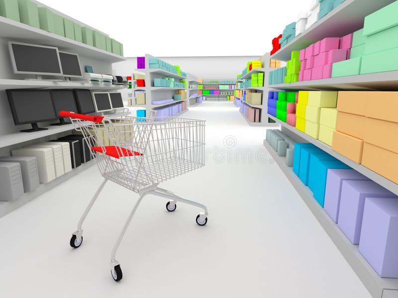 shoppingsupermarket vektor illustrationer