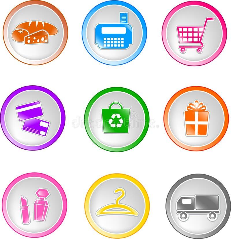 Shoppingsymboler stock illustrationer