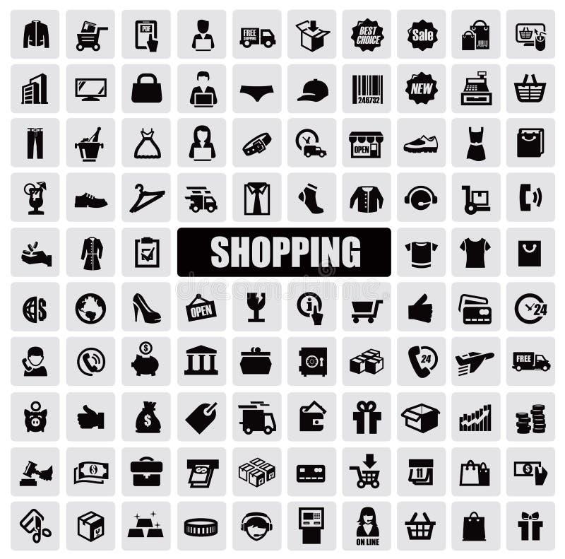 Shoppingsymboler royaltyfri illustrationer