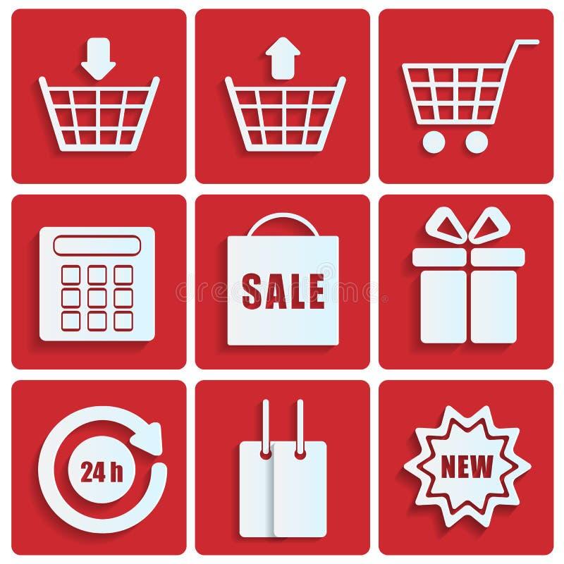 Shoppingsymboler vektor illustrationer