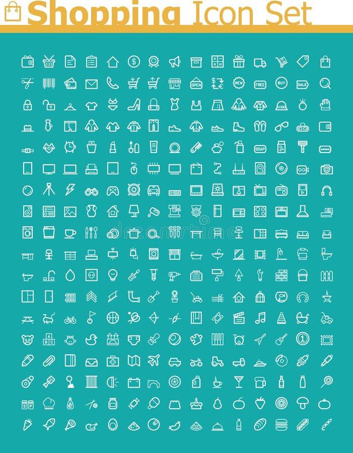 Shoppingsymbolsuppsättning vektor illustrationer