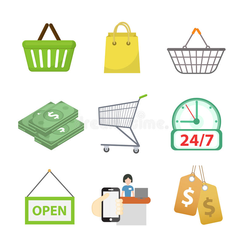 Shoppingsymbolsuppsättning, lägenhetstil Shoppa symbolssamlingen som isoleras på vit bakgrund Lagra objekt och objekt vektor vektor illustrationer