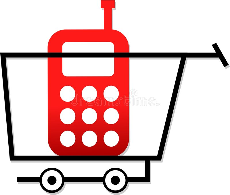 shoppingtelefoner vektor illustrationer