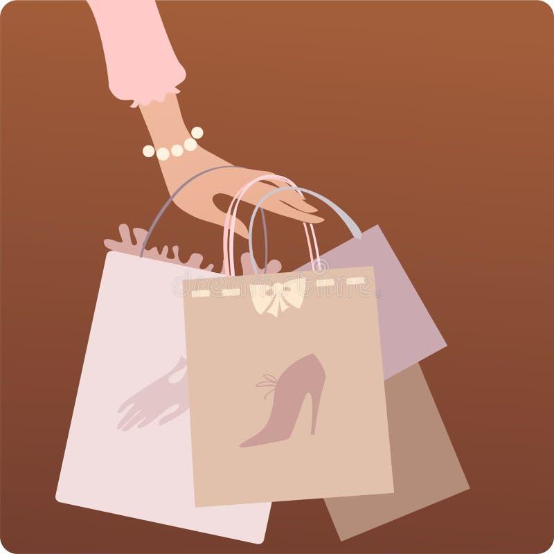 shoppingtid vektor illustrationer