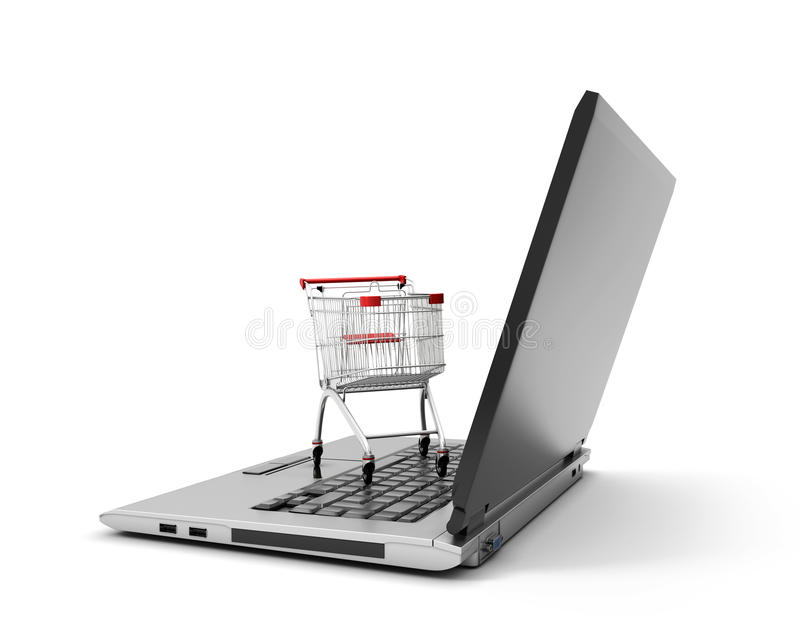 Shoppingvagn över en isolerad bärbar datordator vektor illustrationer