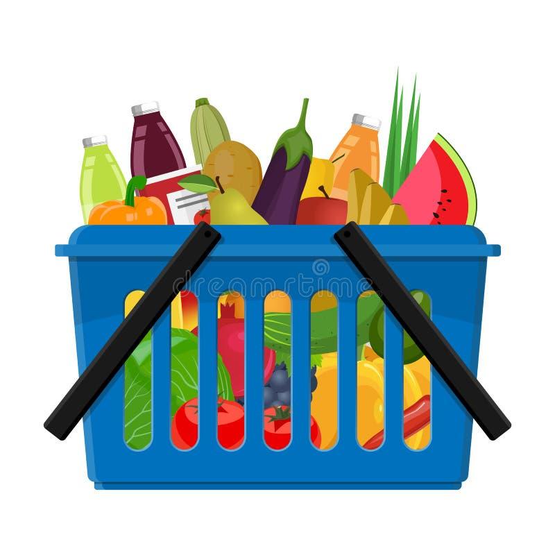 Shoppingvagn från en supermarket med full vegetarisk mat stock illustrationer