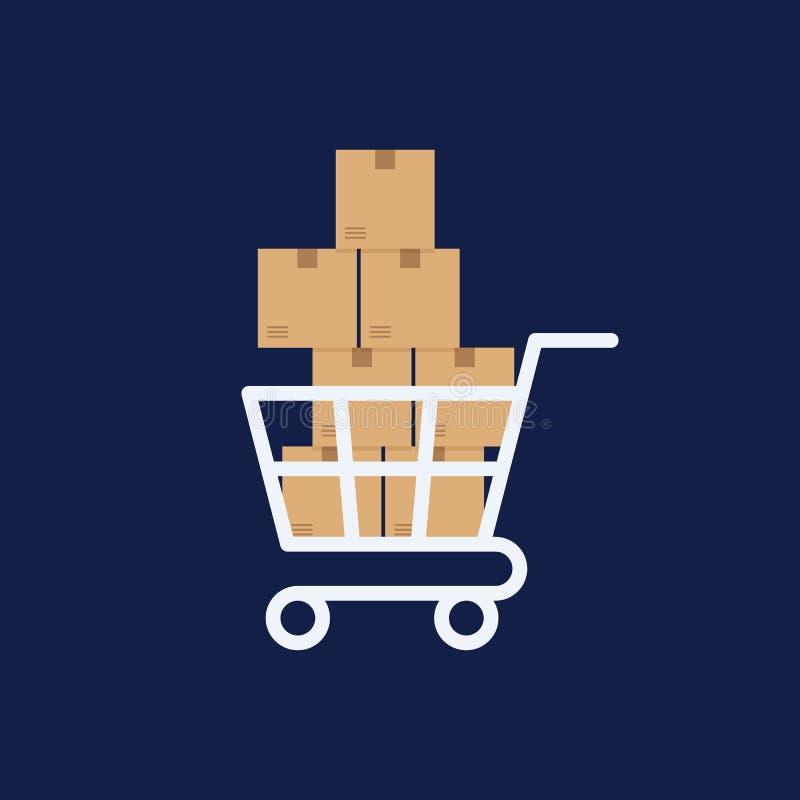 Shoppingvagn med askar, design för leveransbegreppslägenhet vektor illustrationer