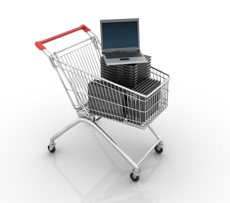 Shoppingvagn med datorbärbara datorer vektor illustrationer