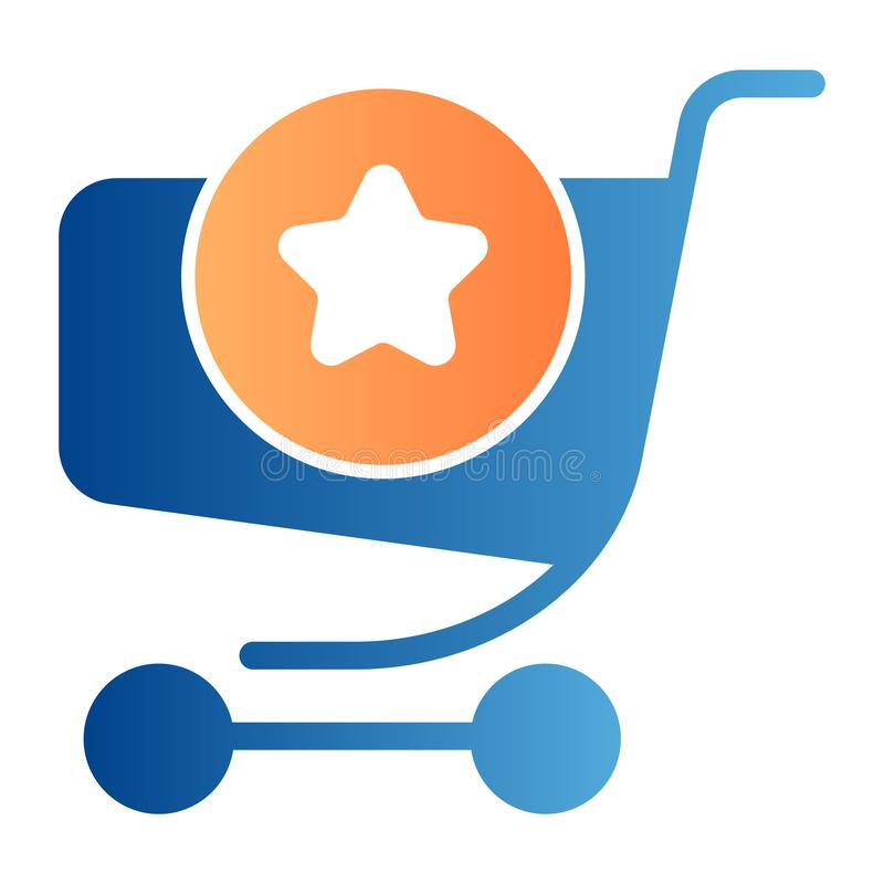 Shoppingvagn med en plan symbol för tecken r Stil för marknadsspårvagnlutning royaltyfri illustrationer