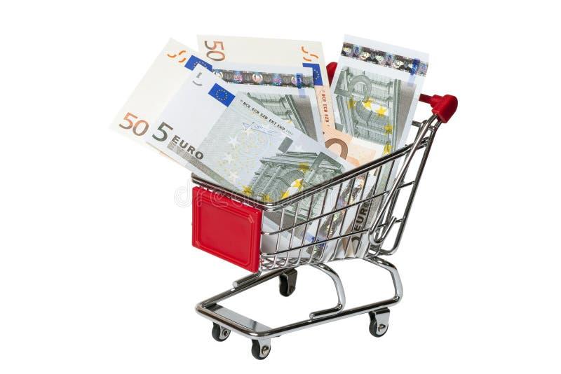 Shoppingvagn med euroet som isoleras på vit arkivbilder
