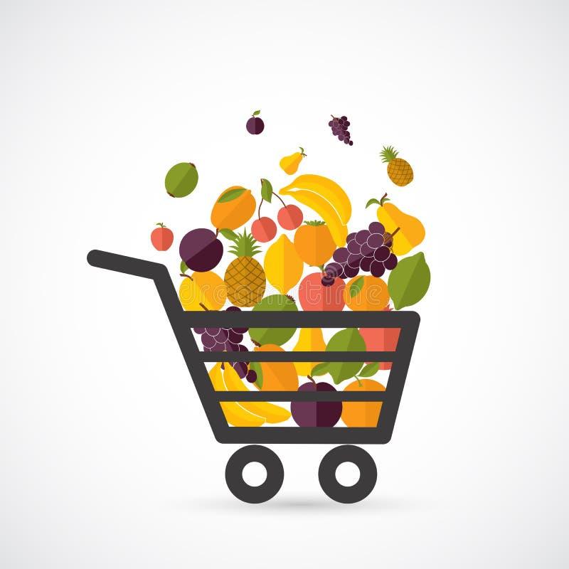 Shoppingvagn med frukter vektor illustrationer
