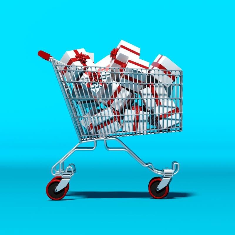 Shoppingvagn med gåvor inom vektor illustrationer