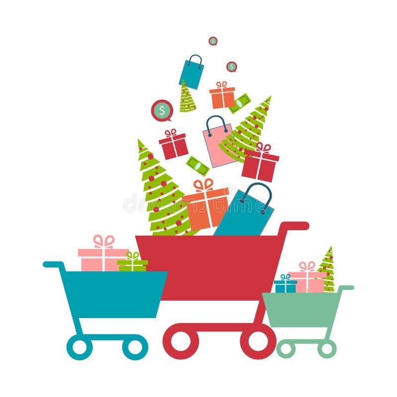 Shoppingvagn med gåvor som isoleras ferie för kreditering för jul för bakgrundsklockakortet isolerade sparkly white för röd shopp vektor illustrationer