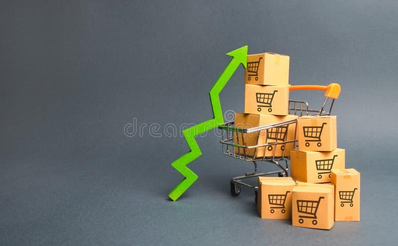 Shoppingvagn med kartonger med en modell av att handla vagnar och en gräsplan upp pil Öka hastigheten av försäljningar, produktio royaltyfri fotografi
