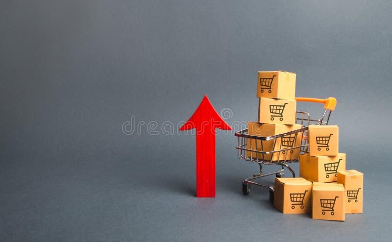 Shoppingvagn med kartonger med en modell av att handla vagnar och en röd övre pil Tillväxt säljer en gro och återförsäljnings- f? arkivfoto