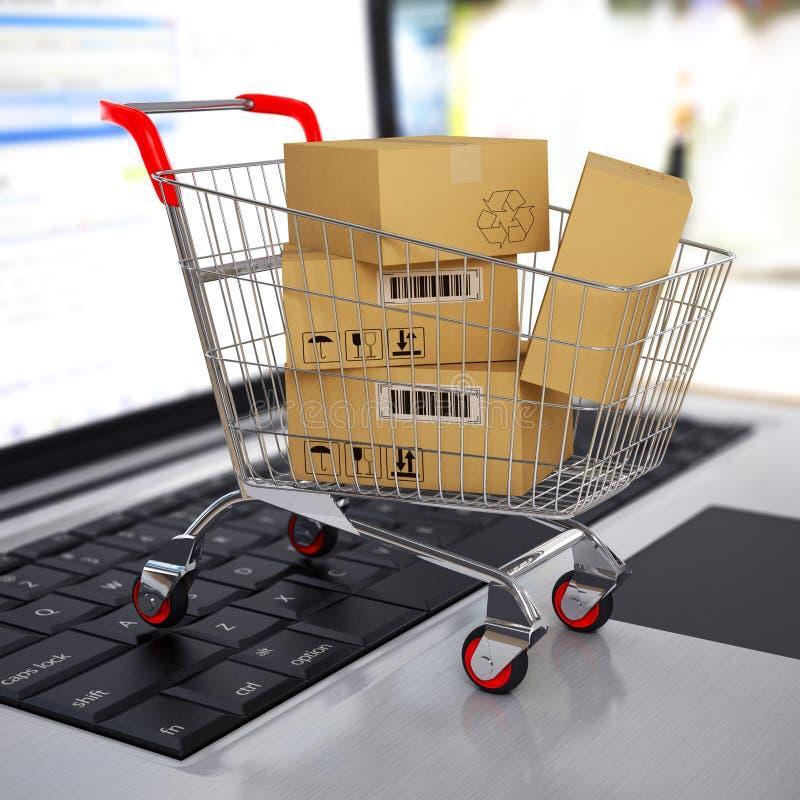 Shoppingvagn med kartonger på bärbara datorn. 3d vektor illustrationer