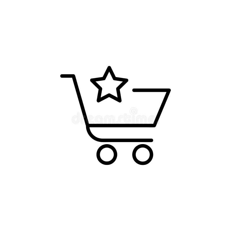 Shoppingvagn med stjärnan vektor illustrationer