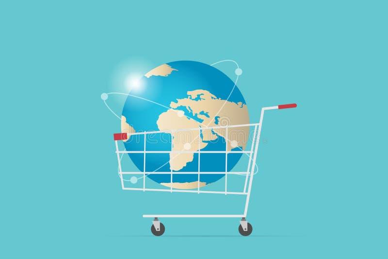 Shoppingvagn med världsjordklotet, digitalt online- och affärsidé vektor illustrationer