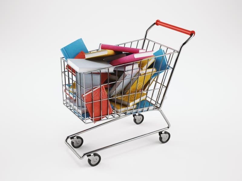 Shoppingvagn mycket av böcker framförande 3d royaltyfri illustrationer