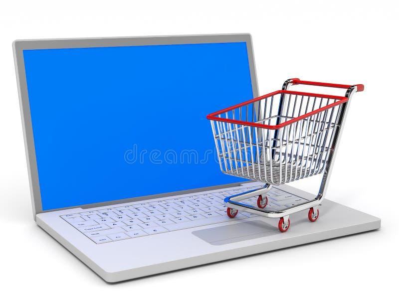 Shoppingvagn och bärbar dator. royaltyfri illustrationer