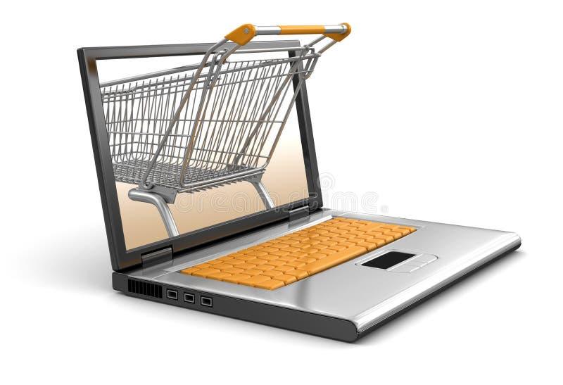 Shoppingvagn och bärbar dator (den inklusive snabba banan) vektor illustrationer